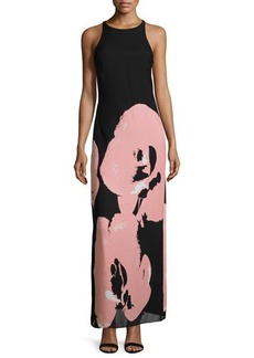 Halston Heritage Sleeveless Orchid-Print Maxi Dress