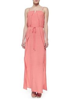 Halston Heritage Sleeveless Overlay Belted Maxi Dress