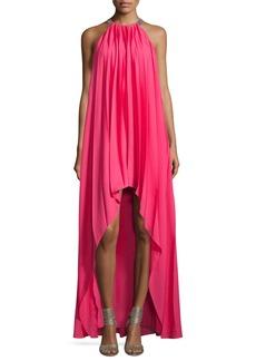 Halston Heritage Sleeveless Pleated Chiffon Gown