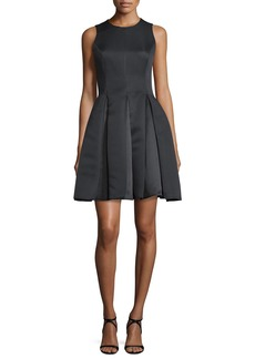 Halston Heritage Sleeveless Pleated Fit-and-Flare Dress