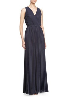 Halston Heritage Sleeveless Pleated Gown