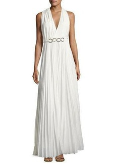 Halston Heritage Sleeveless Pleated Gown with Embellished Waist