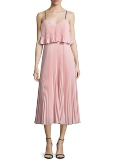 Halston Heritage Sleeveless Pleated Popover Midi Dress