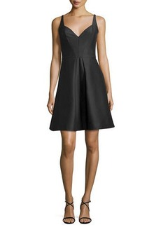 Halston Heritage Sleeveless Pleated Structured Faille Cocktail Dress