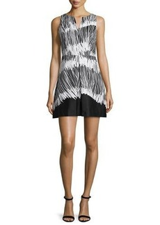 Halston Heritage Sleeveless Printed Fit & Flare Dress