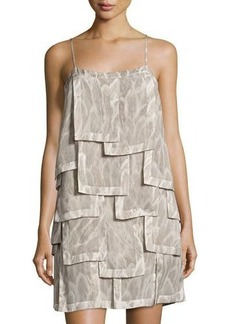 Halston Heritage Sleeveless Printed Patch Dress