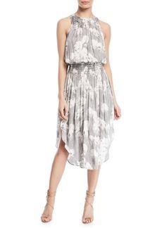 Halston Heritage Sleeveless Printed Ruched Midi Dress