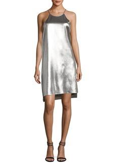 Halston Heritage Sleeveless Racerback Metallic Slip Dress