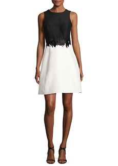 Halston Heritage Sleeveless Round-Neck Colorblock Cocktail Dress w/ Embroidery