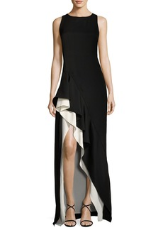 Halston Heritage Sleeveless Round-Neck Colorblocked Flounce-Skirt Evening Gown