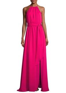 Halston Heritage Sleeveless Round-Neck Flowy Gown W/ Sash