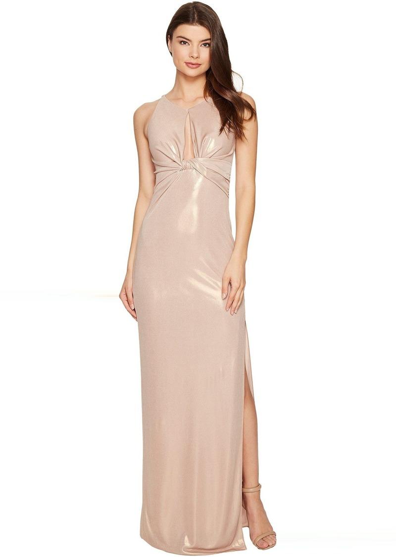 Halston Heritage Sleeveless Round Neck Metallic Jersey Gown w/ Front ...