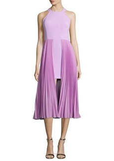 Halston Heritage Sleeveless Round-Neck Plisse Dress