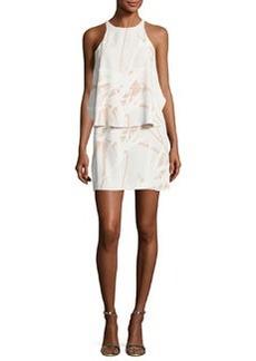 Halston Heritage Sleeveless Round-Neck Printed Tiered Dress