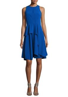 Halston Heritage Sleeveless Round-Neck Sheer-Insert Crepe Cocktail Dress