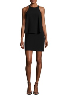 Halston Heritage Sleeveless Round-Neck Tiered Dress