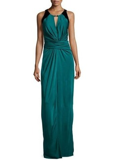 Halston Heritage Sleeveless Ruched-Front Evening Gown