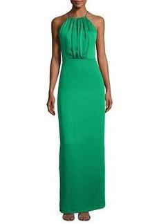 Halston Heritage Sleeveless Ruched Satin & Chiffon Column Gown