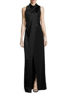 Halston Heritage Sleeveless Satin & Crepe Column Gown