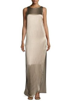 Halston Heritage Sleeveless Satin & Matte Column Gown