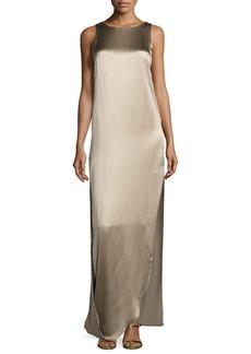Halston Heritage Sleeveless Satin & Matte Column Gown
