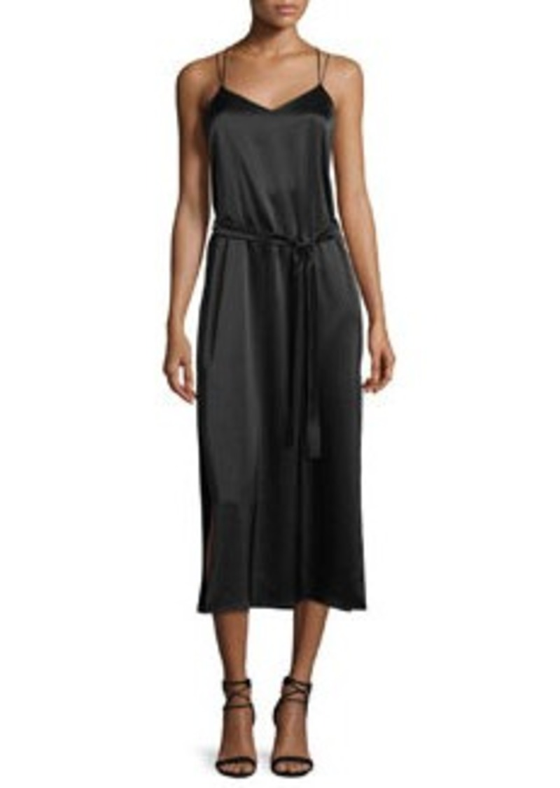 Halston Heritage Sleeveless Satin Cami Slip Dress