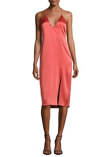 Halston Heritage Sleeveless Satin Slip Dress