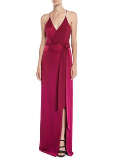 Halston Heritage Sleeveless Satin Wrap Gown