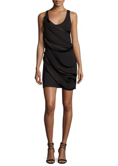 Halston Heritage Sleeveless Scoop-Neck Mini Dress w/ Draped Strappy Detail