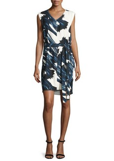 Halston Heritage Sleeveless Self-Tie Floral-Print Dress w/ Draped Back