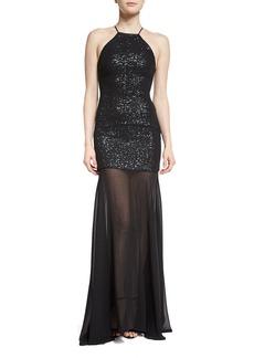 Halston Heritage Sleeveless Sequin & Tulle Gown