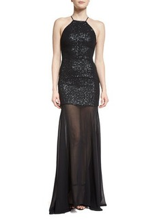 Halston Heritage Sleeveless Sequin & Tulle Gown