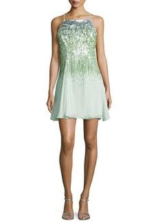 Halston Heritage Sleeveless Sequined Dress
