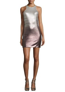 Halston Heritage Sleeveless Sequined Fitted Cocktail Dress