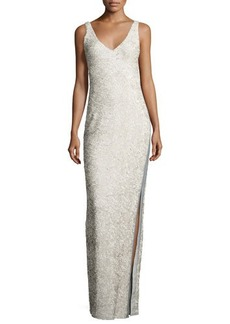 Halston Heritage Sleeveless Sequined Gown