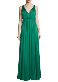 Halston Heritage Sleeveless Shirred Chiffon-Overlay Gown
