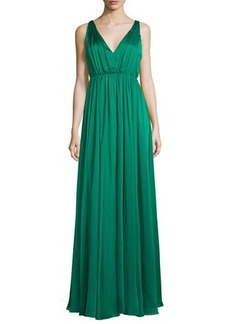 Halston Heritage Sleeveless Shirred Chiffon-Overlay Gown