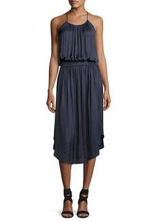 Halston Heritage Sleeveless Shirred Jersey Midi Dress