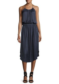 Halston Heritage Sleeveless Shirred Jersey Midi Dress