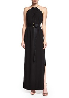 Halston Heritage Sleeveless Shirred-Neck Belted Gown