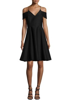Halston Heritage Sleeveless Split-Neck A-line Cocktail Dress