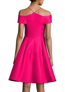 Halston Heritage Sleeveless Split-Neck A-line Cocktail Dress