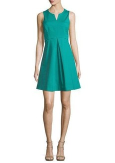 Halston Heritage Sleeveless Split-Neck Party Dress