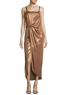 Halston Heritage Sleeveless Square-Neck Draped Jersey Dress
