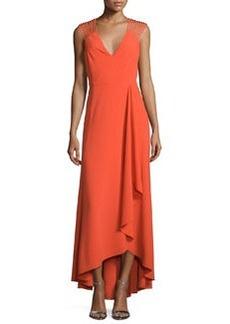 Halston Heritage Sleeveless Strappy High-Low Ruffle Dress