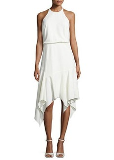Halston Heritage Sleeveless Stretch Crepe Handkerchief Cocktail Dress