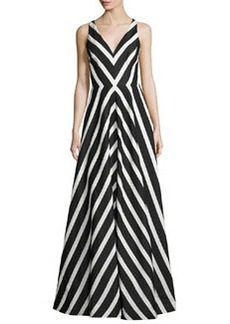 Halston Heritage Sleeveless Striped Ball Gown