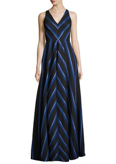 Halston Heritage Sleeveless Striped Ball Gown