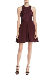 Halston Heritage Sleeveless Structured Dress w/ Satin Strips