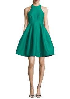 Halston Heritage Sleeveless Structured Faille Tulip Dress